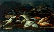 Natura morta con pescato. Il mercato del pesce della vigilia di Natale